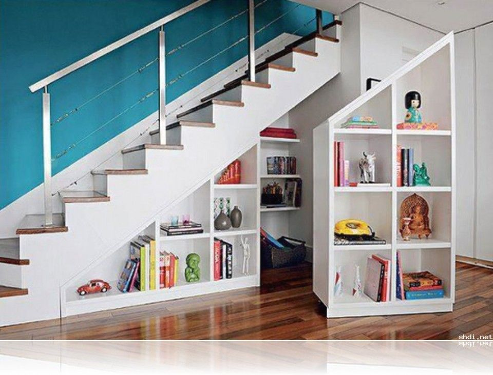 Fabulous Under Stairs Storage Idea With White Mobile Shelf Units