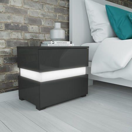 Best Sense Grey High Gloss Bedside Table With Led Light 400 x 300