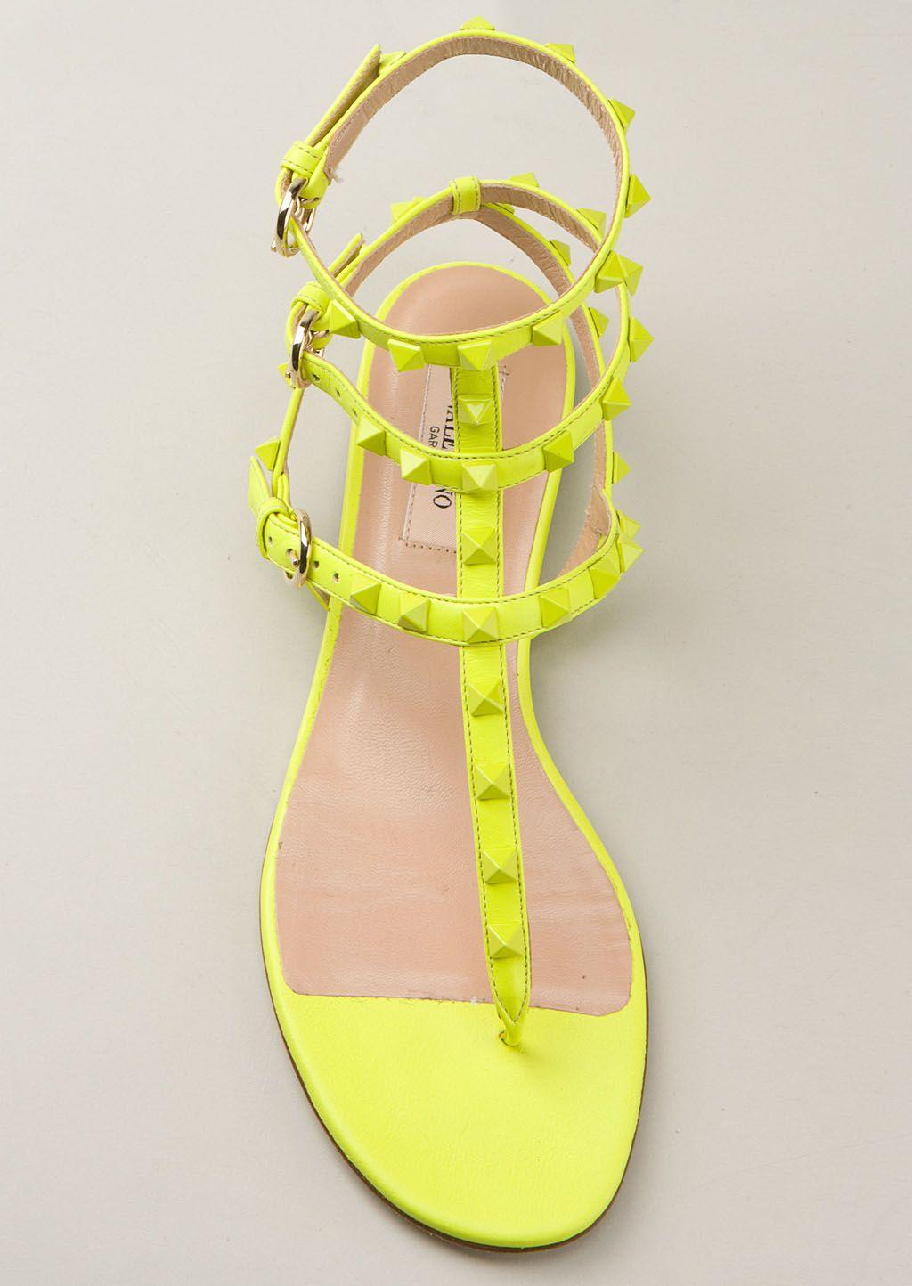 neon yellow Rockstud flat sandals
