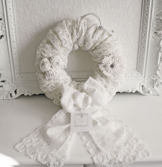 kranz romantik shabby chic weiss shabby wreaths and. Black Bedroom Furniture Sets. Home Design Ideas
