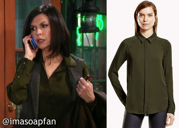 cef754c951719 I m a Soap Fan  Anna Devane s Dark Green Silk Shirt - General Hospital
