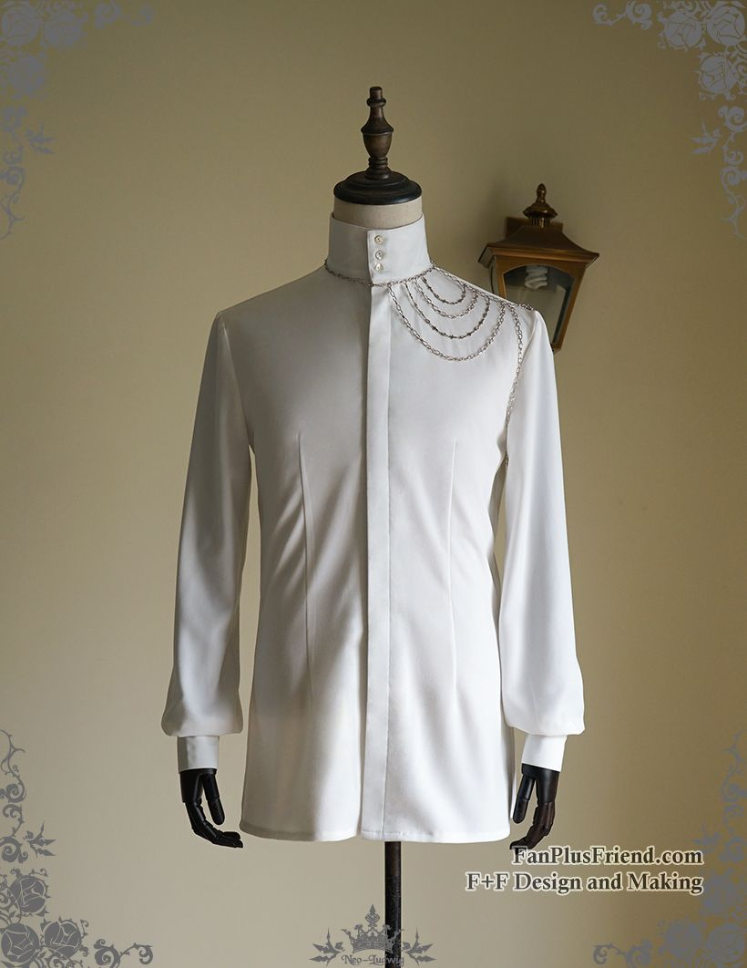 Vintage Stand Collar Shirt Men Shirt Handmade Shoulder Chain Set