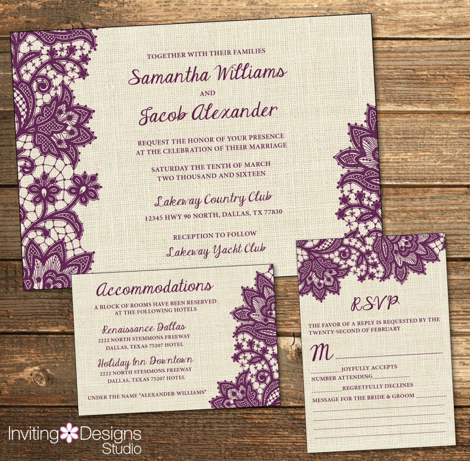 Rustic Wedding Invitation Burlap Lace Eggplant Purple Purple