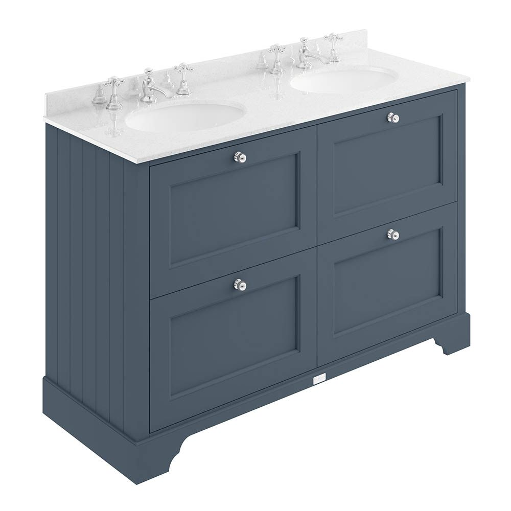 Bayswater Stiffkey Blue 1200mm 4 Drawer Vanity Unit 3th White Marble Double Bowl Basin Top Vanity Units Stiffkey Blue Double Vanity Unit