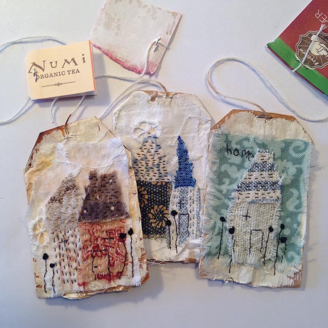 little houses teabag art Tina Jensen Tea bag art, Art