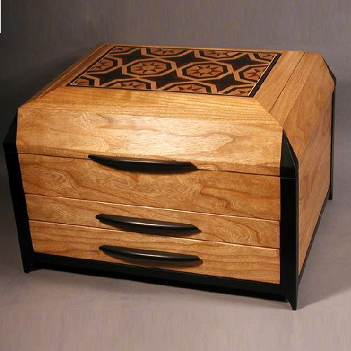 Custom Kaliedescope Inlay Jewelry Box Large Jewelry Box