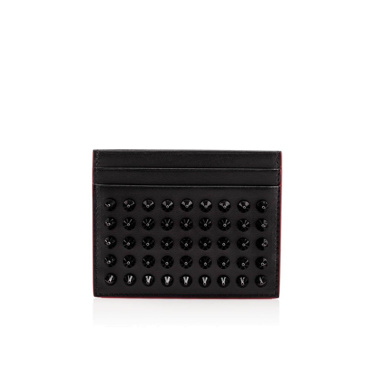 Christian Louboutin Kios Simple Card Holder Black Gunmetal Christianlouboutin Bags Leather Lining Acces Card Holder Leather Christian Louboutin Gunmetal