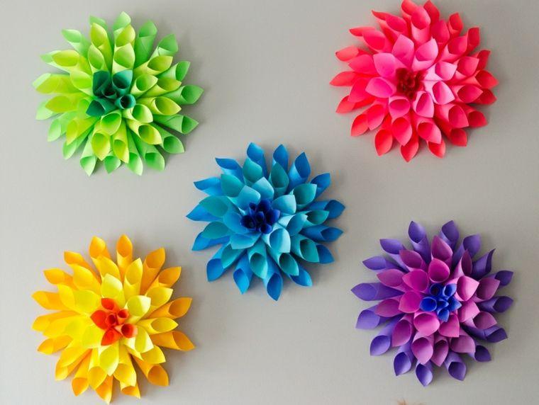 flores de papel para decorar las paredes