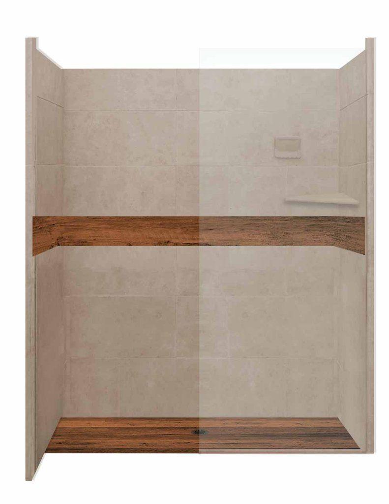 Burnt Oak With Brown Sugar 60 Alcove Lifeproof Wood Collection Shower American Bath Factory Vinyl Wood Flooring Wood Floors Shower Kits
