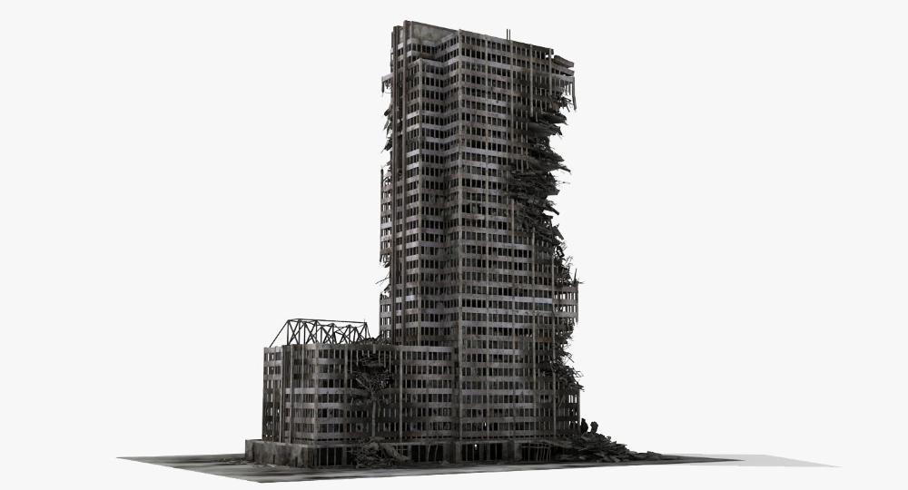 Destroyed Ruined Building Skyscrapers Max Skyscraper Ruins 3d Model