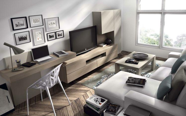 Coin bureau en bois massif dans le salon canap d 39 angle - Bureau gris taupe ...