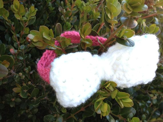 Pink And White Bow Crochet Headband on Etsy, $7.00