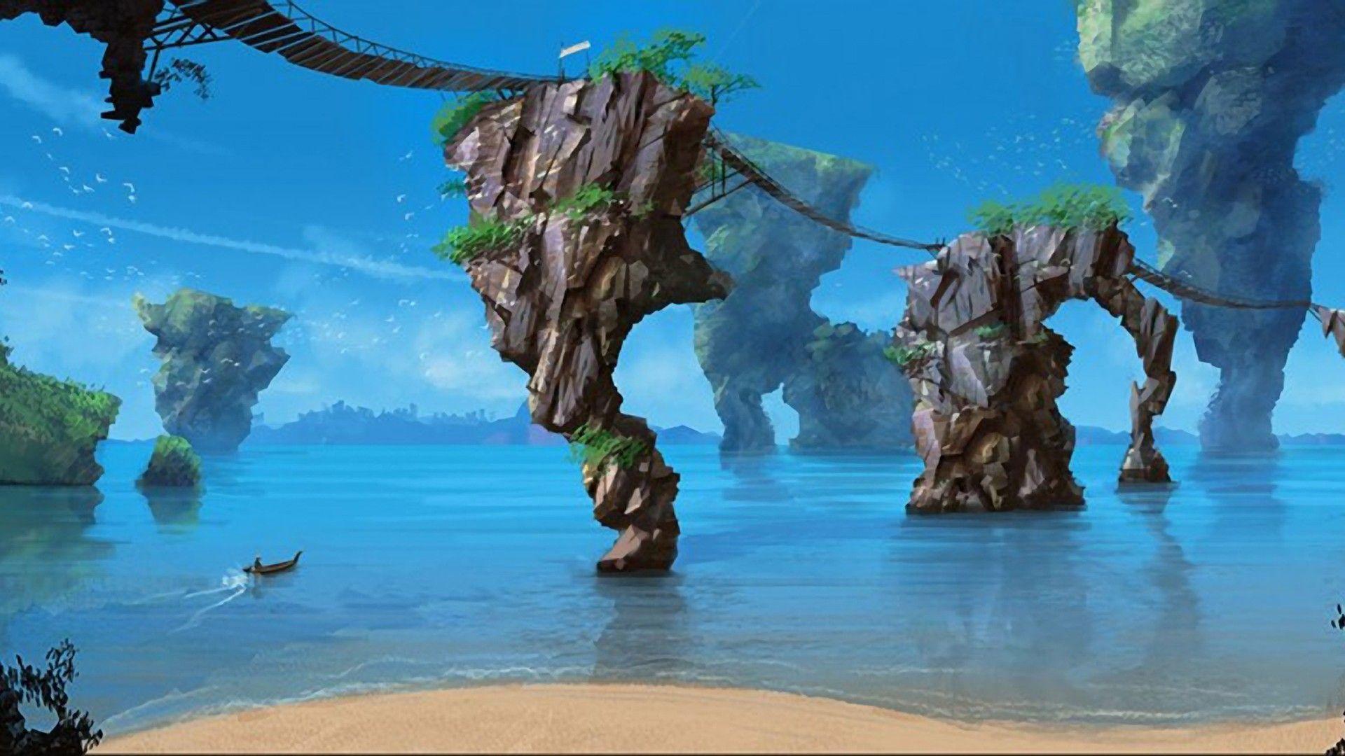 Floating Islands Tropical Islands Fantasy Landscape