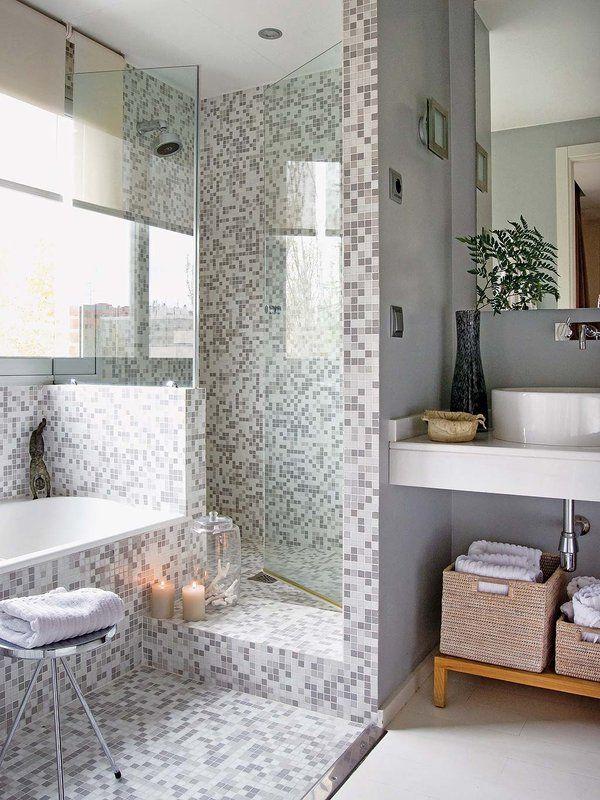 un bao con ducha de obra en gris y blanco - Duchas De Obra