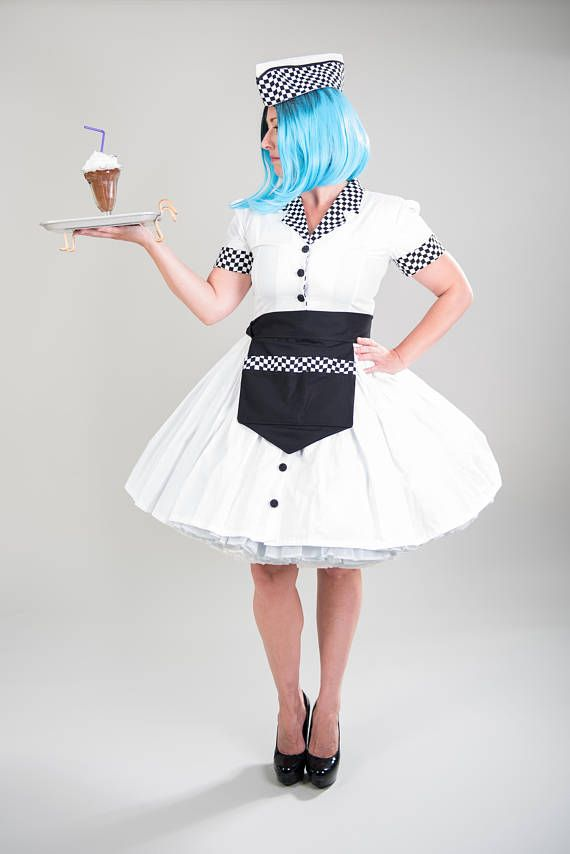 e3a474a4ed73b Retro 50s Pinup Pin Up Car Hop Waitress Dress Apron Hat Womens Girls Adults  Custom Size including Plus Sizes Halloween Costume | Costumes, White cotton  and ...