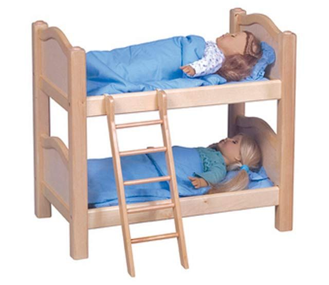 Natural Wood Doll Bunk Bed With Ladder Our Heirloom Quality Doll Furniture Collection Is Made Of Hardwood Solids E Doll Bunk Beds Bunk Beds Bunk Bed Designs