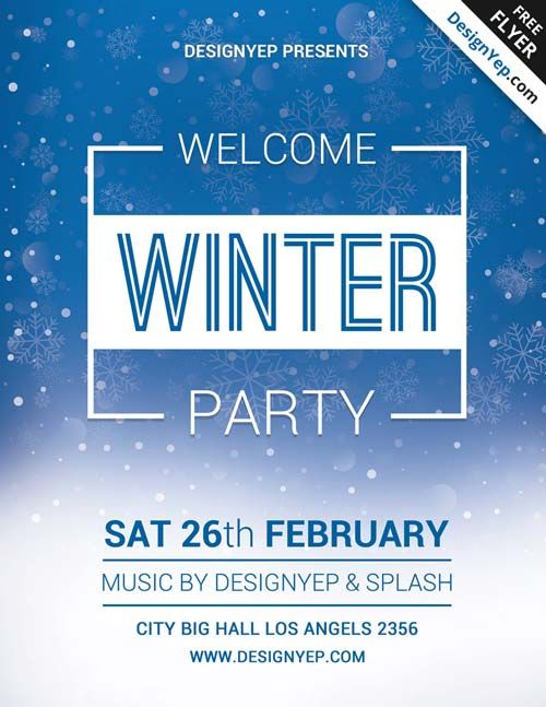 Winter Welcome Party Free PSD Flyer Template -    freepsdflyer - winter flyer template