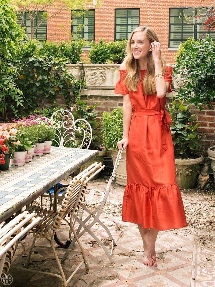 ce505a10de3 Tory Burch Ramona Maxi Midi Silk Dress Off-Shoulder Red Canyon 10 12 Size L  $395 | eBay