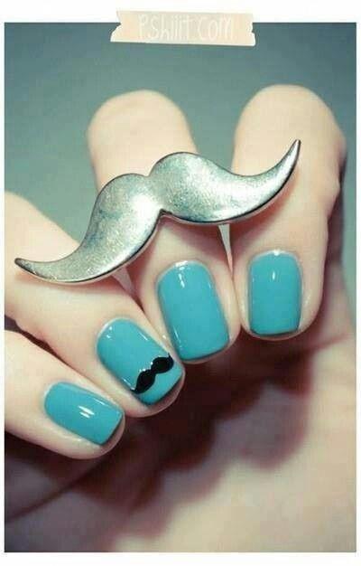 Mustache nail design
