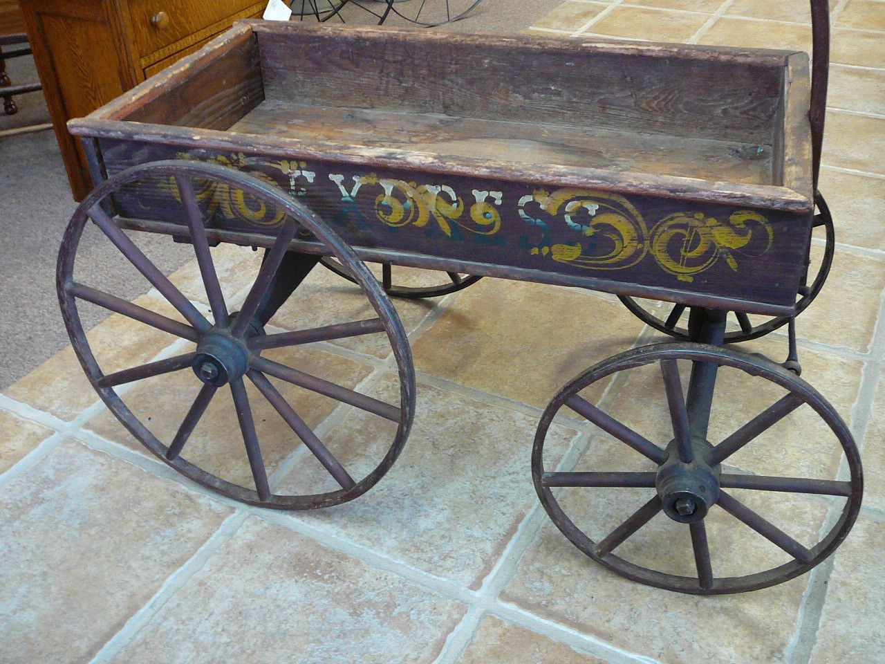 Antique Child S Stenciled Wooden Cart Wagon Wood Wheels Metal Rims