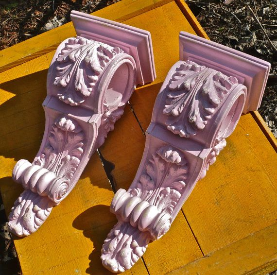 Curtains Ideas corbel curtain rod bracket : Set of 2 Curtain Rod Holders Corbels- Sconces-Wall Decor-Shabby ...