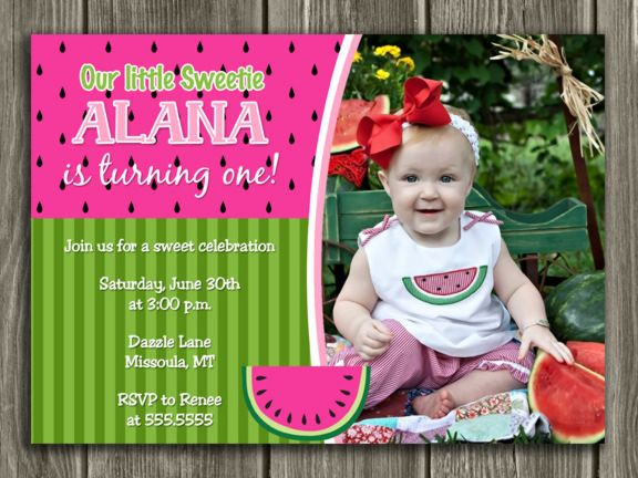 printable watermelon birthday photo invitation | summer fruit,