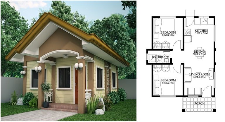 Cute Tiny House Design With House Plan Cottage Style House Plans Two Bedroom House Design Small House Design Plans