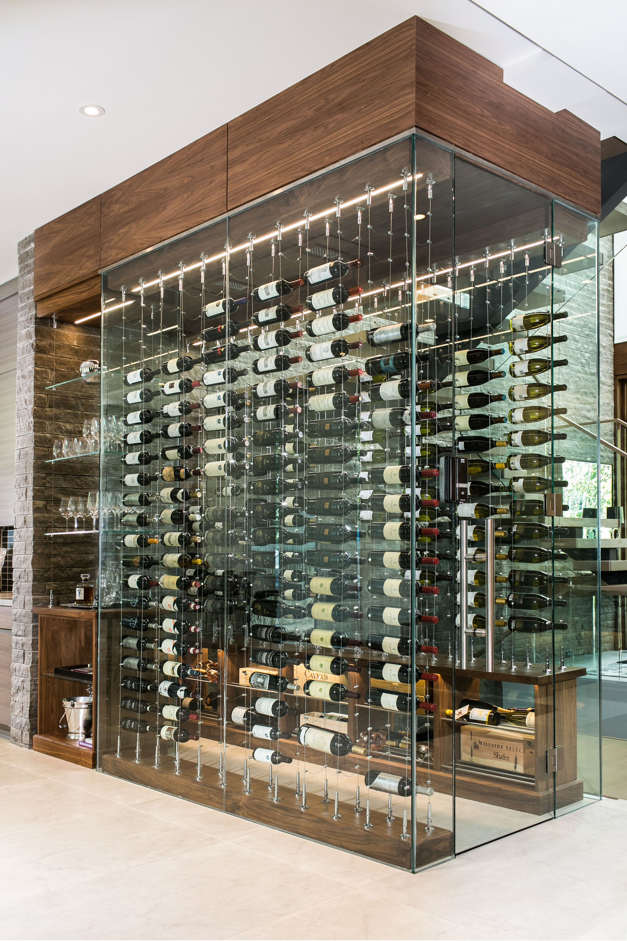 Under The Stairs Glass Enclosed Cable Wine System Mancave Winelounge Wineideas Wine Modern Inter With Images Wine Cellar Design Glass Wine Cellar Home Wine Cellars