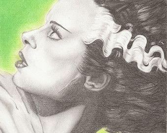 The Bride of Frankenstein 6 X 4 Print. Artwork by Jade Jones