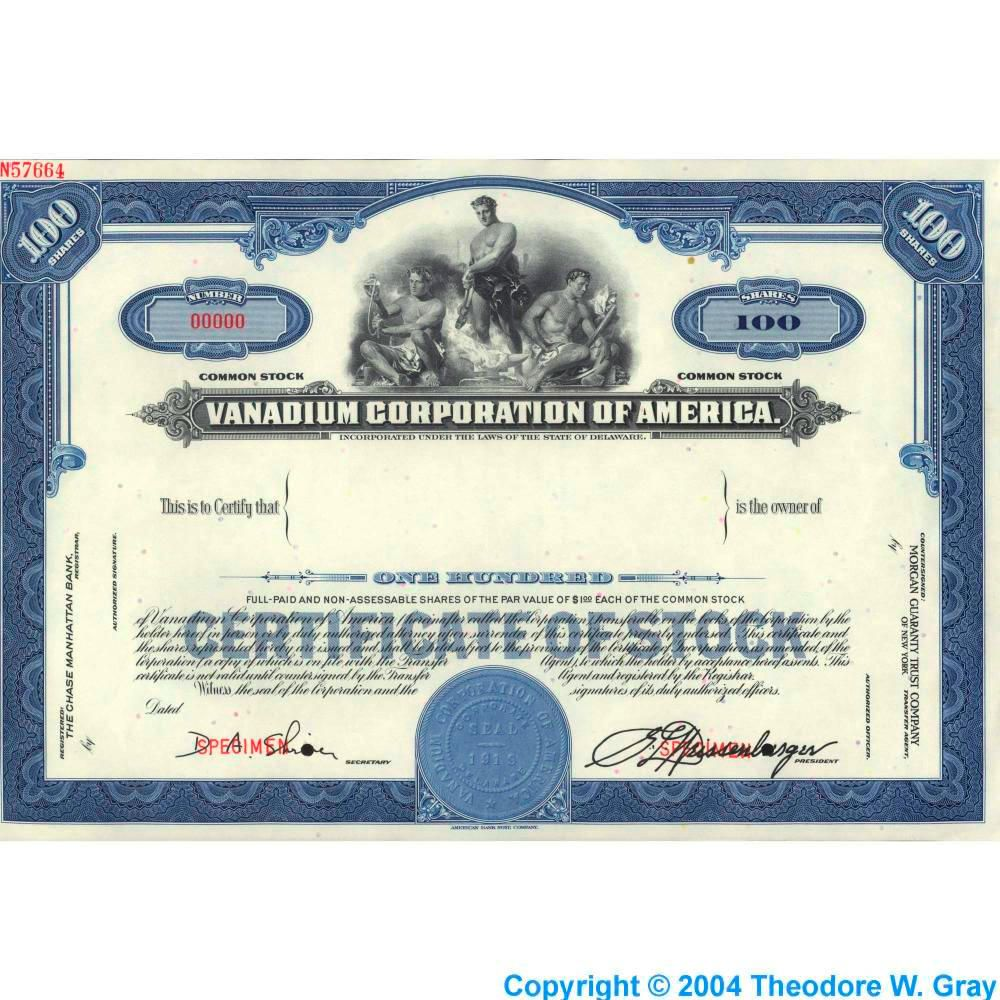 Stock certificate a sample of the element vanadium in the explore templates free resume templates and more stock certificate a sample yadclub Gallery