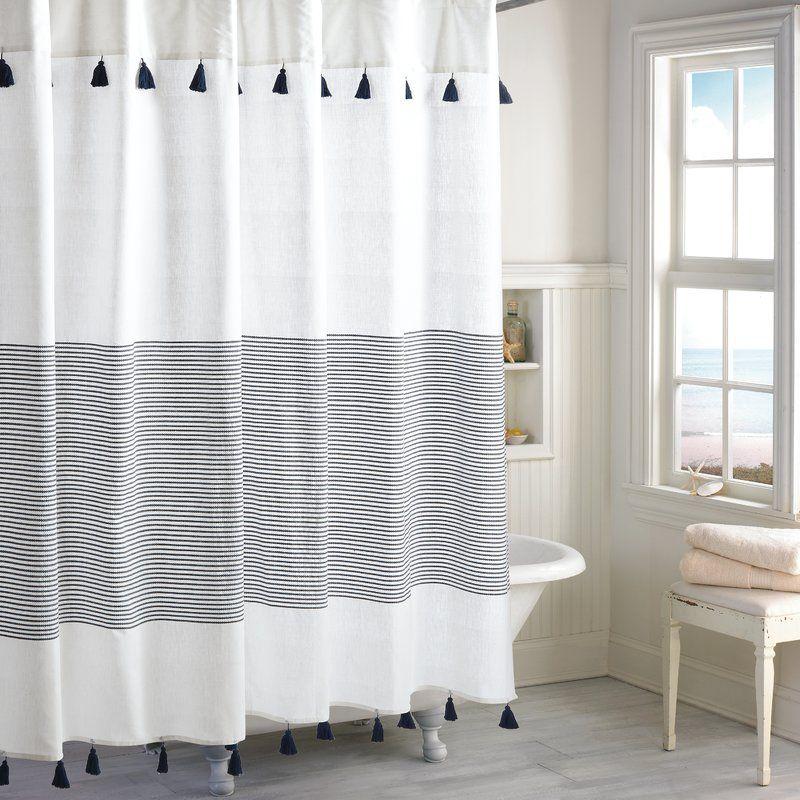 Campanella 100 Cotton Stripe Single Shower Curtain Striped Shower Curtains Vintage Shower Curtains Navy Shower Curtain