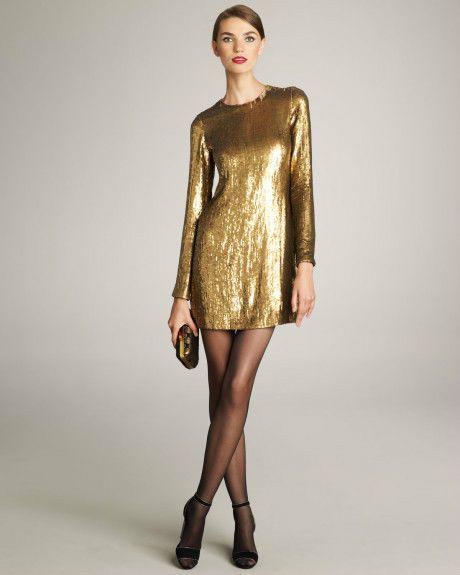 DIANE VON FURSTENBERG PAULETTA EMBELLISHED GOLD PARTY HOLIDAY DRESS