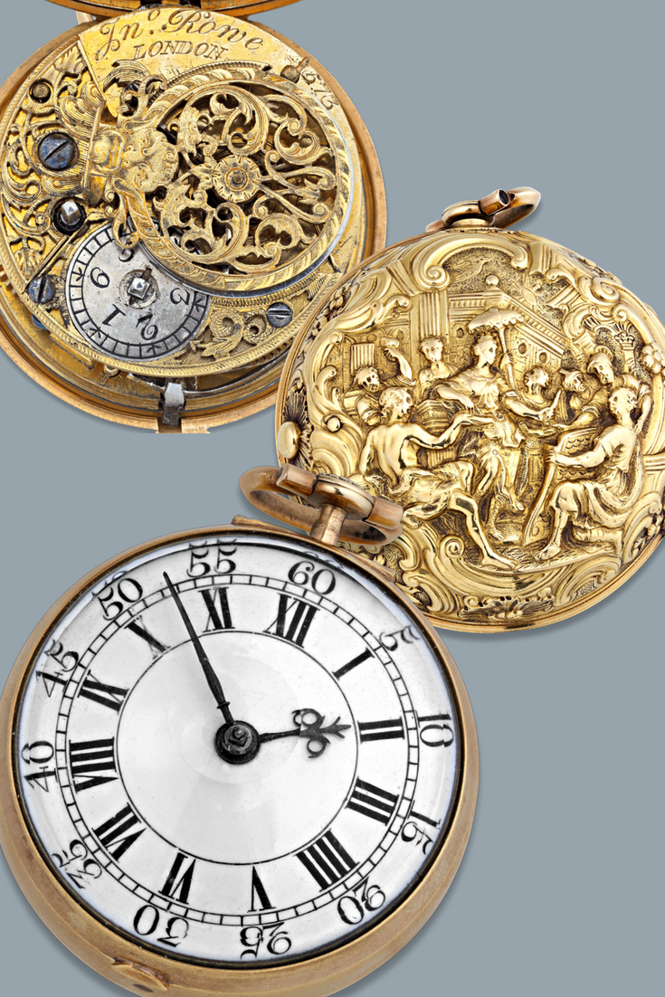 This Exceptionally Rare English Gold Pocket Watch Dates To The 18th Century The Baroque Pair Case Featu Gold Pocket Watch Pocket Watch Antique Antique Watches