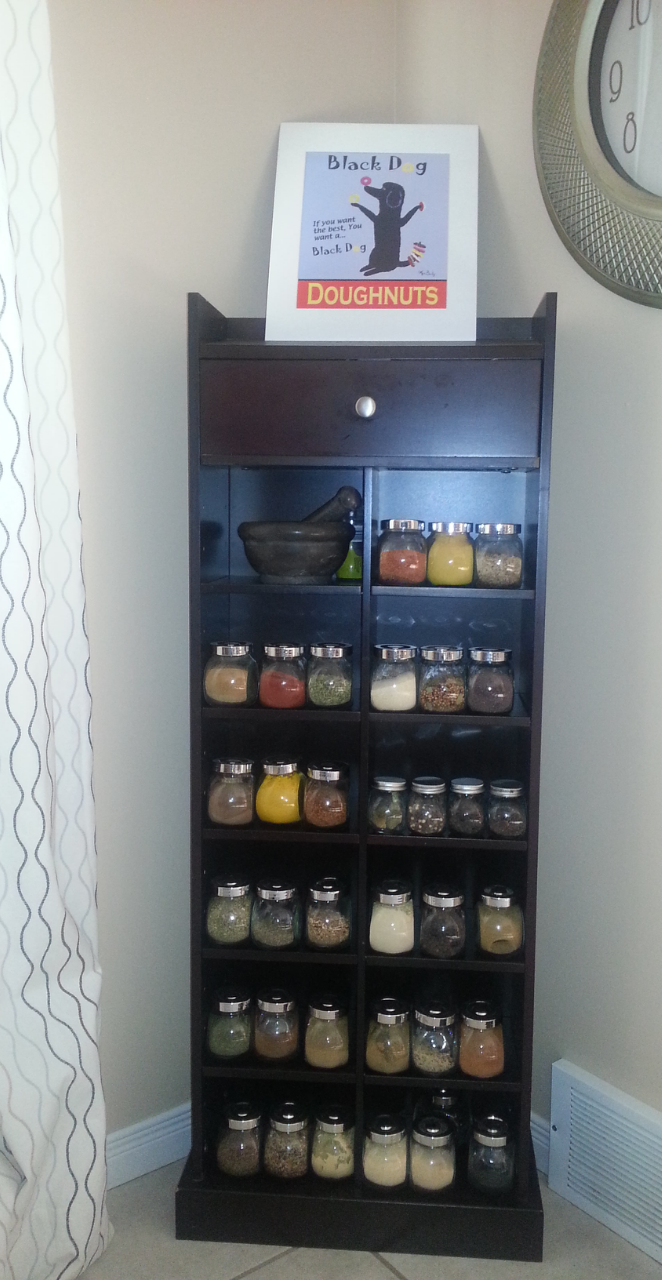 I Repurposed My Old CD Holder Into A Spice Rack. I Bought The Jars At