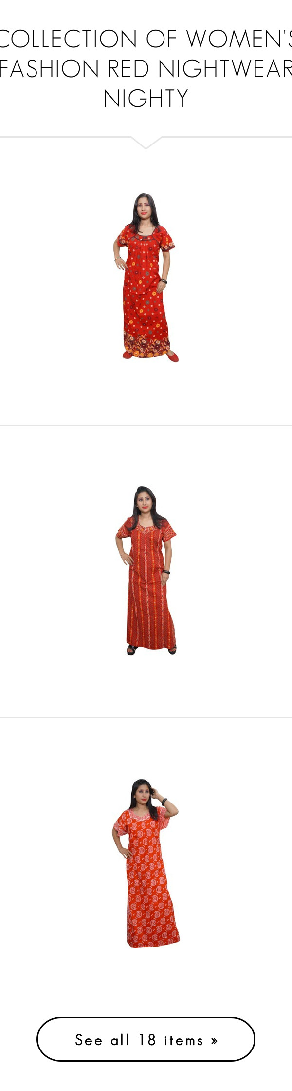 """COLLECTION OF WOMEN'S FASHION RED NIGHTWEAR NIGHTY"" by globaltrendzs-flipkart ❤ liked on Polyvore featuring intimates, sleepwear, nightgowns, red nightie and red nightgown"