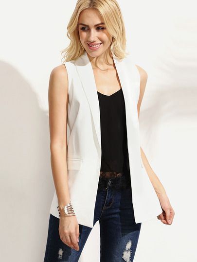 bcd2b5b9be6c6 Shop White Shawl Lapel Sleeveless Blazer online. SheIn offers White Shawl  Lapel Sleeveless Blazer   more to fit your fashionable needs.