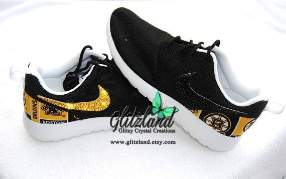 Swarovski Nike Girls / Women Black Roshe w/ NHL Boston Bruins Print Heel  And Blinged with Authentic Swarovski Crystals