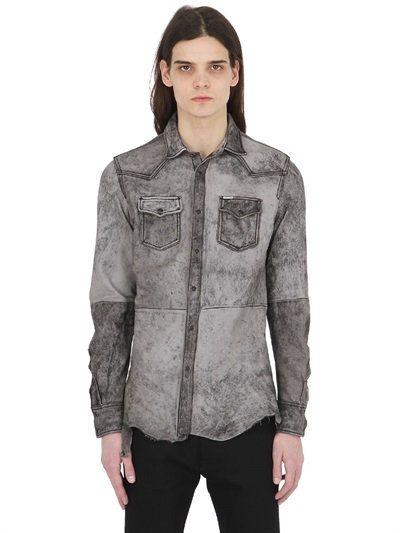 ac7b0629da DIESEL Heavy Washed Nappa Leather Western Shirt