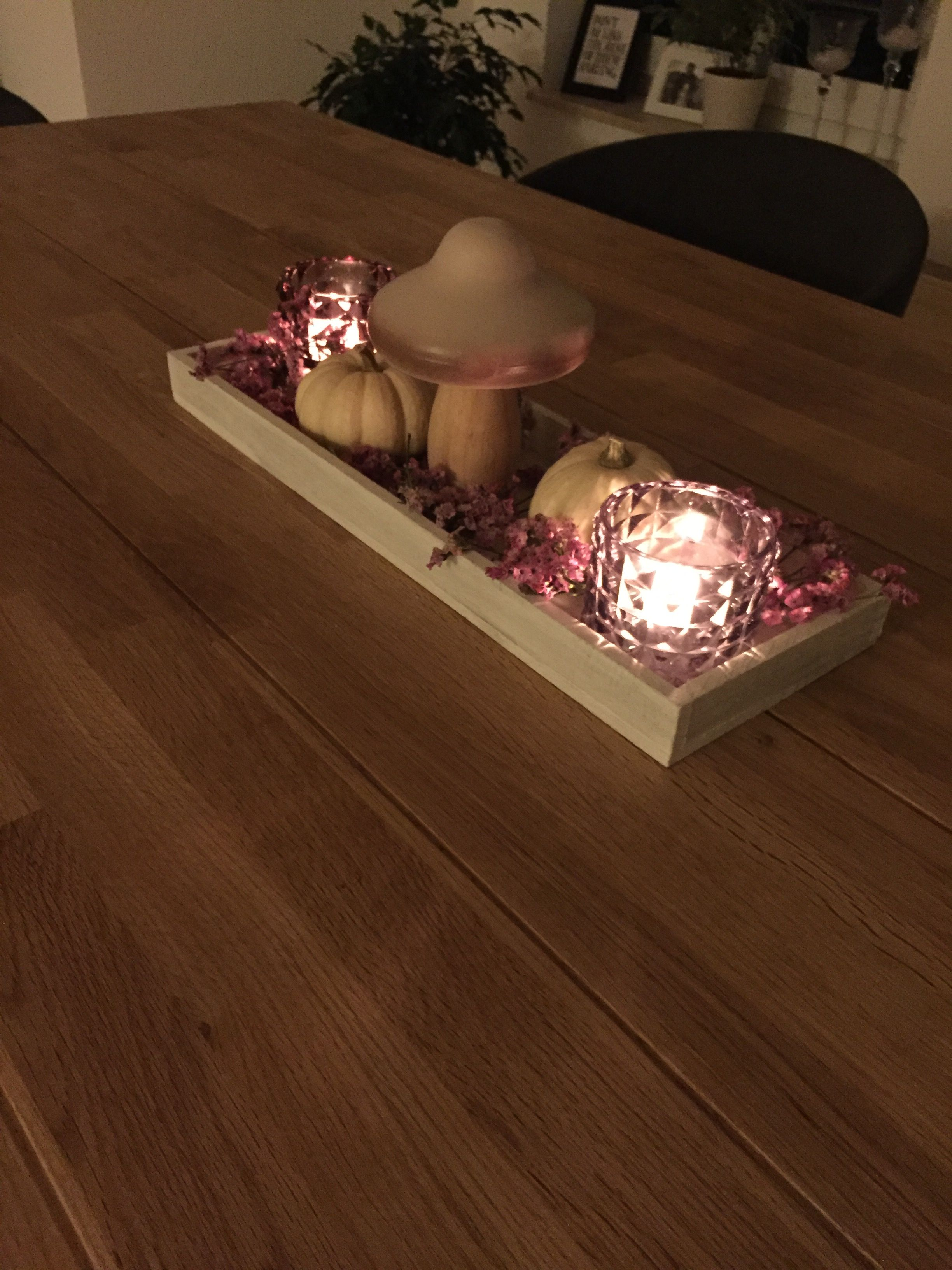 Rosa Herbstdeko #herbstdekotischtablett