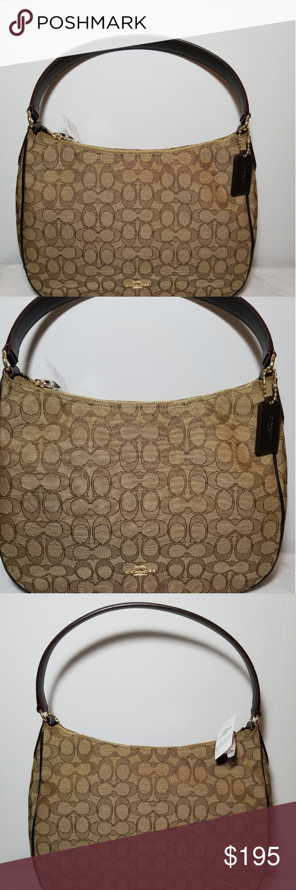 80be4a45b7ee coach zip shoulder bag in signature jacquard coach zip shoulder bag in signature  jacquard with smooth leather details. inside cellphone and Multifunction ...