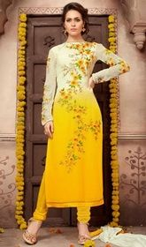 Yellow and Cream Color Shaded Georgette Churidar Suit #onlinechuridar #churidarsuits Imprint a throng of enduring memories, dressed in this yellow and cream color shaded georgette churidar suit. The ethnic lace and resham work over a clothing adds a sign of beauty statement to your look.  USD $ 97 (Around £ 67 & Euro 74)