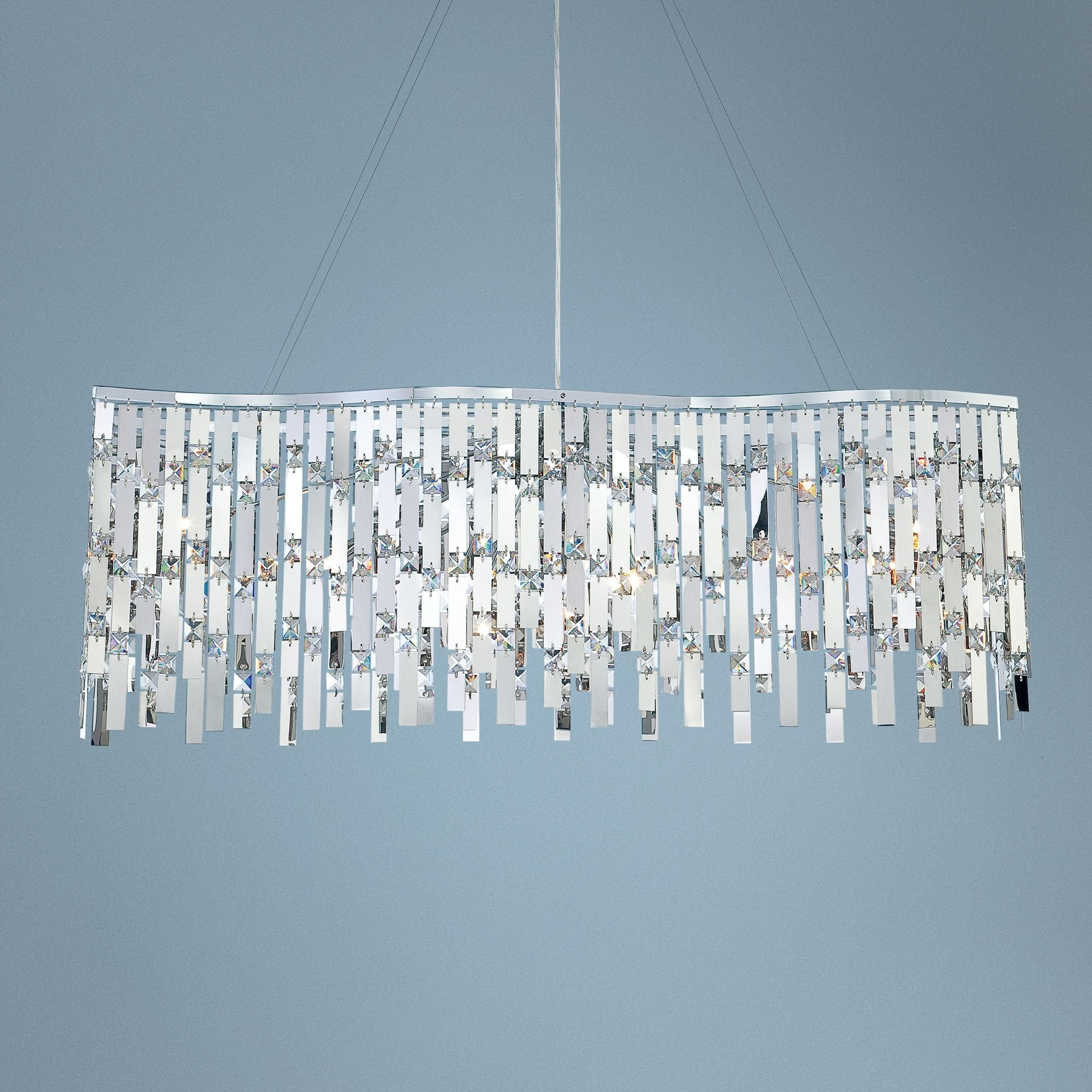 Possini Euro Wave Rectangle Chrome and Crystal Chandelier Style