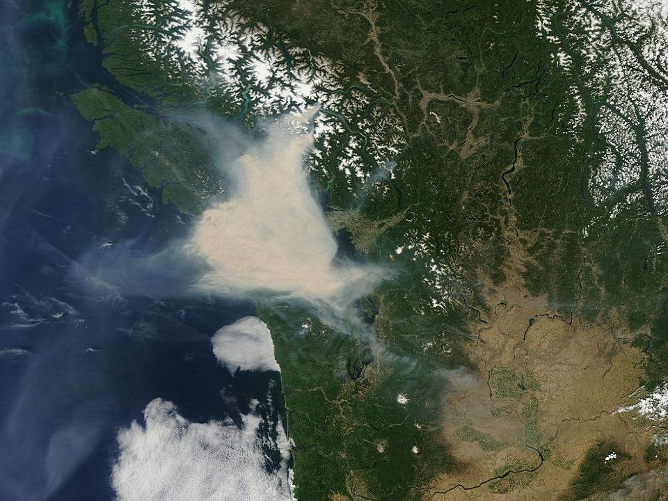 nasa shot of forest fire smoke BC Up in smoke, Vancouver