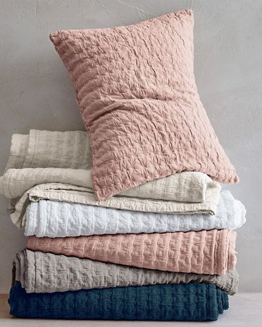 Superb Eileen Fisher Rippled Organic Cotton Coverlet And Shams