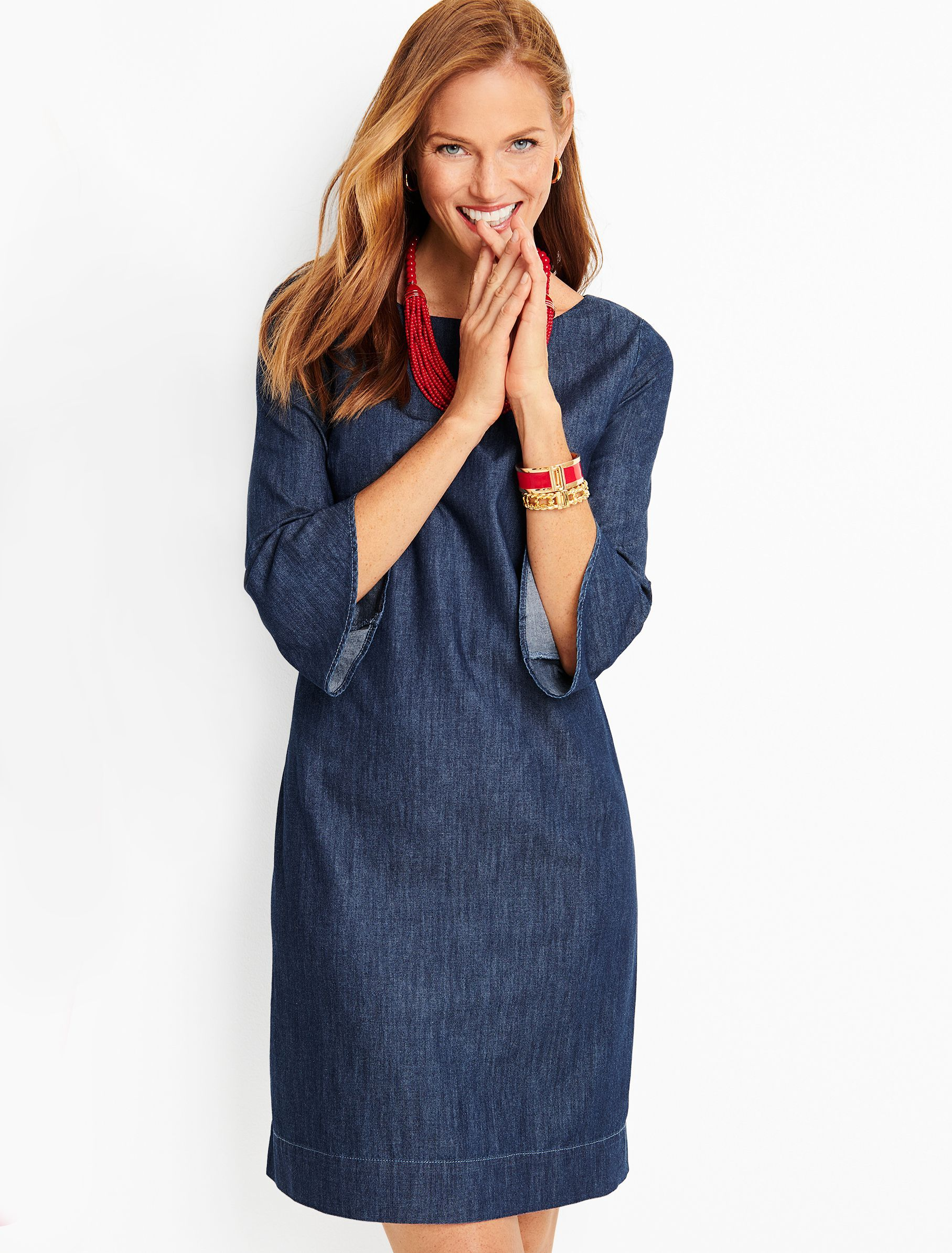 Denim Goes Feminine Update In A Pretty Flounce Sleeve Silhouette Our Favorite Casual Fabric Gets Denim Fashion Outfits Demin Dress Outfit Shift Dress Outfit [ 2388 x 1815 Pixel ]