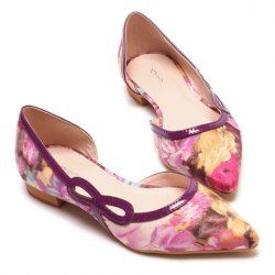 Elegant Women's Flat Shoes With Flower Print and Openwork Design