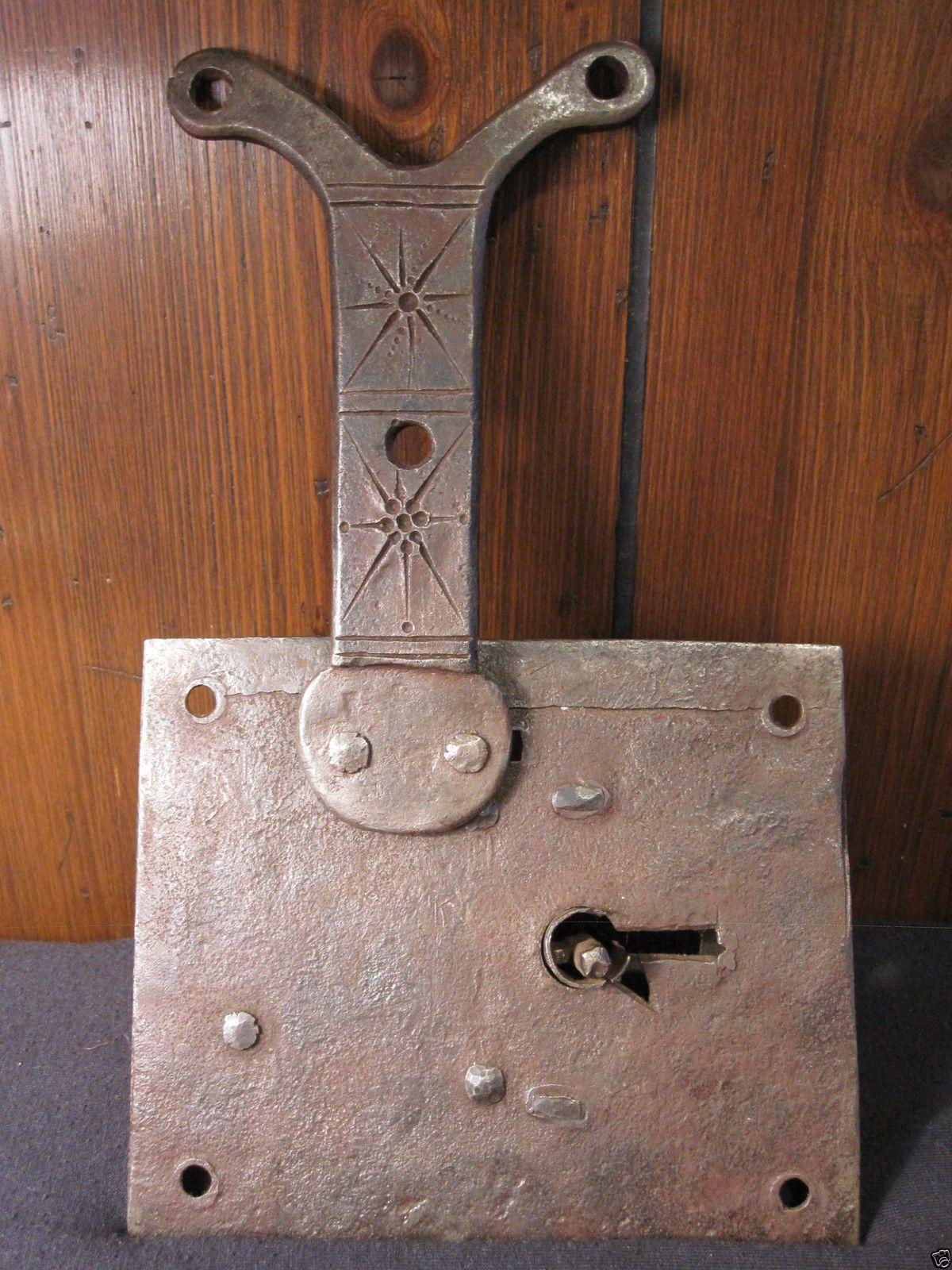 Antique Early American Wrought Iron Decorated Box Lock Conestoga Wagon Pa Ebay Wrought Iron Decor Wrought Iron Decorative Boxes