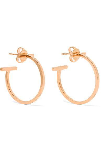 3df6ef6ee257d Tiffany & Co - T Wire 18-karat Rose Gold Hoop Earrings - one size ...