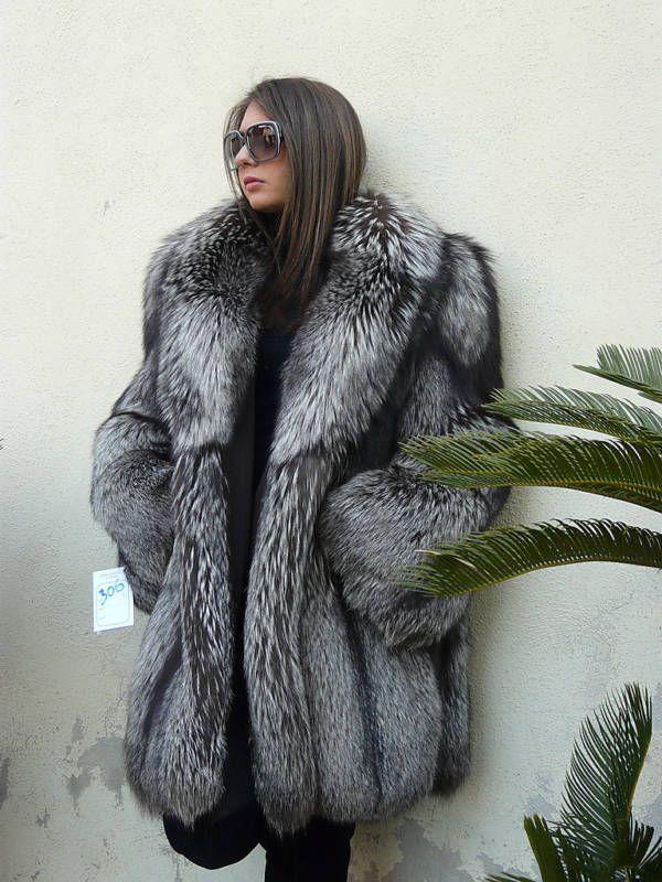 Silver Fox Fur Coat Real fur coats Fur coat, Fur, Fur