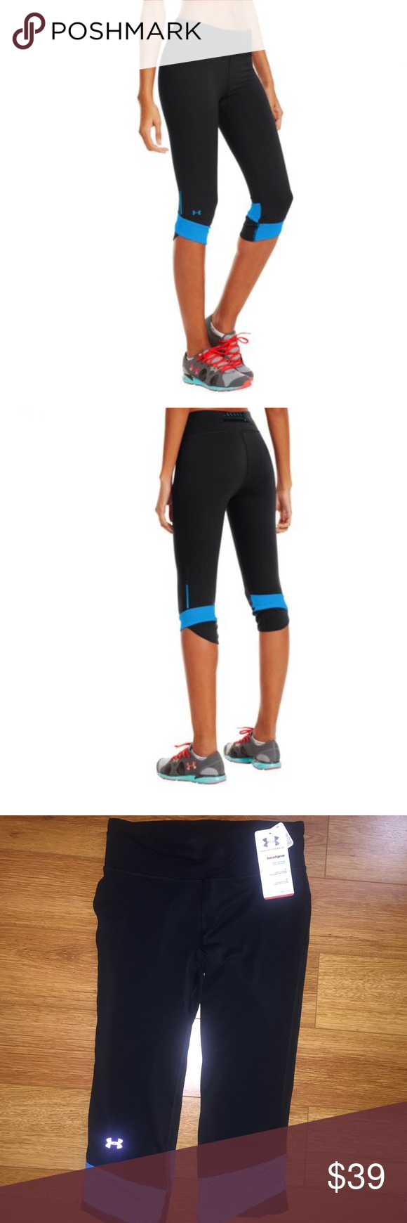 Under Armour Women's Fly-By Compression Capri Soft, brushed mid-weight fabric delivers superior temperature regulation during your run. Signature Moisture Transport System wicks sweat to keep you dry and light. Lightweight, 4-way stretch construction improves mobility and maintains shape. Ergonomic flatlock side seams eliminate chafing for a superior comfort fit. Scalloped hem with open-hole performance mesh insets for unrivaled breathability. High-rise waist with exposed rear drawcord and…